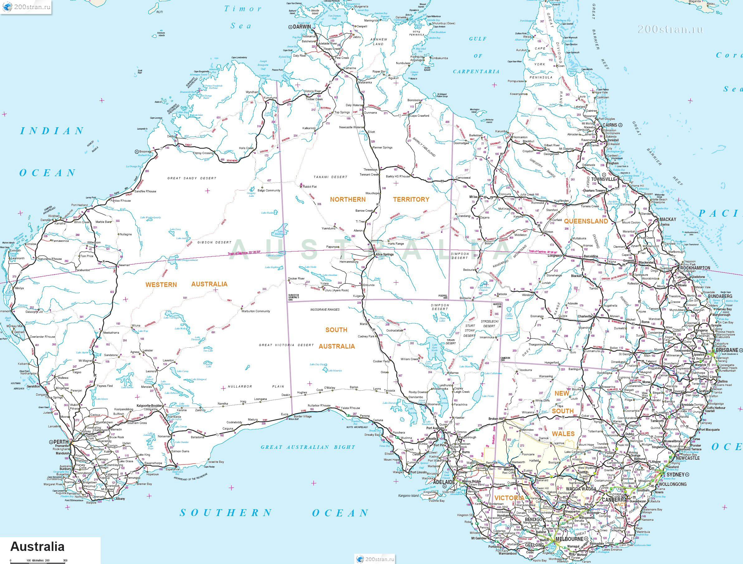 Карта дорог Австралии